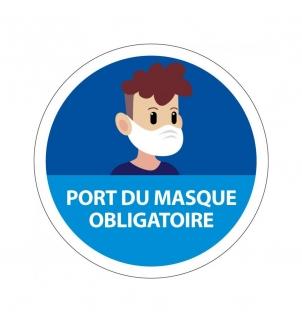 AFFICHE RÉGLEMENTAIRE ADHÉSIVE PORT DU MASQUE OBLIGATOIRE VERSION 2