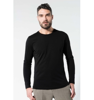 T-shirt coton Bio col rond manches longues homme