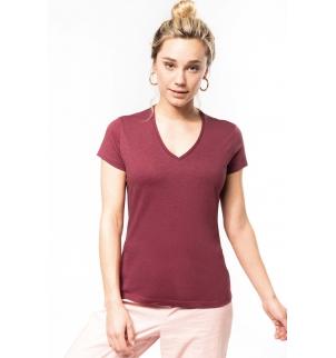 T-shirt coton bio col V femme
