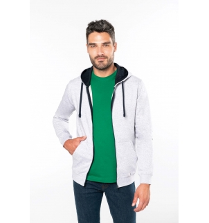 Sweat-shirt zippé capuche contrastée