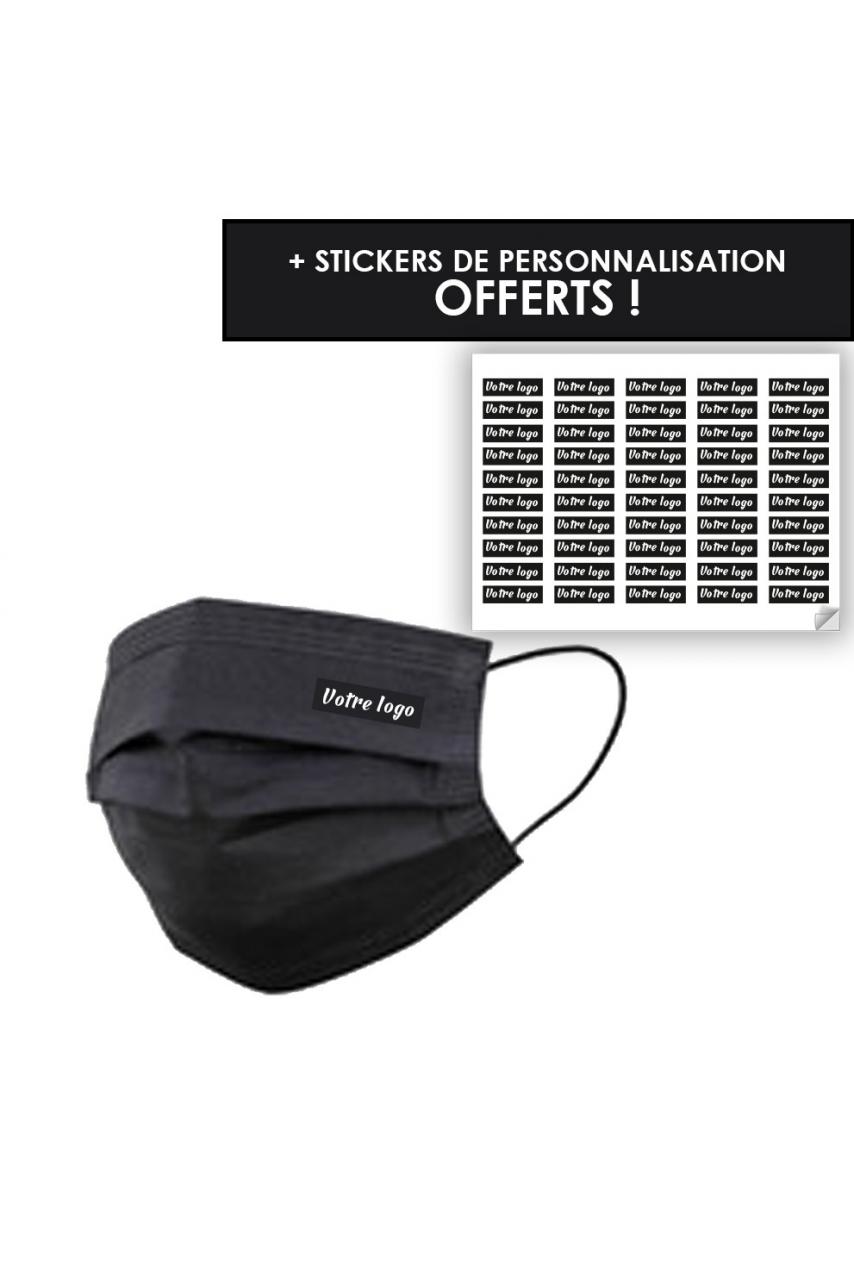 BOITE DE 50 MASQUES CHIRURGICAUX - BLACK (avec stickers de personnalisation offerts)