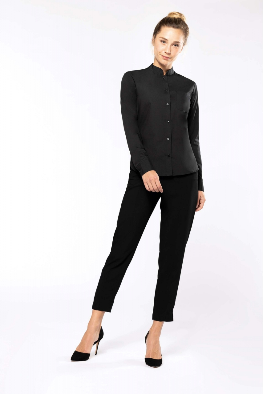 CHEMISE COL MAO MANCHES LONGUES FEMME