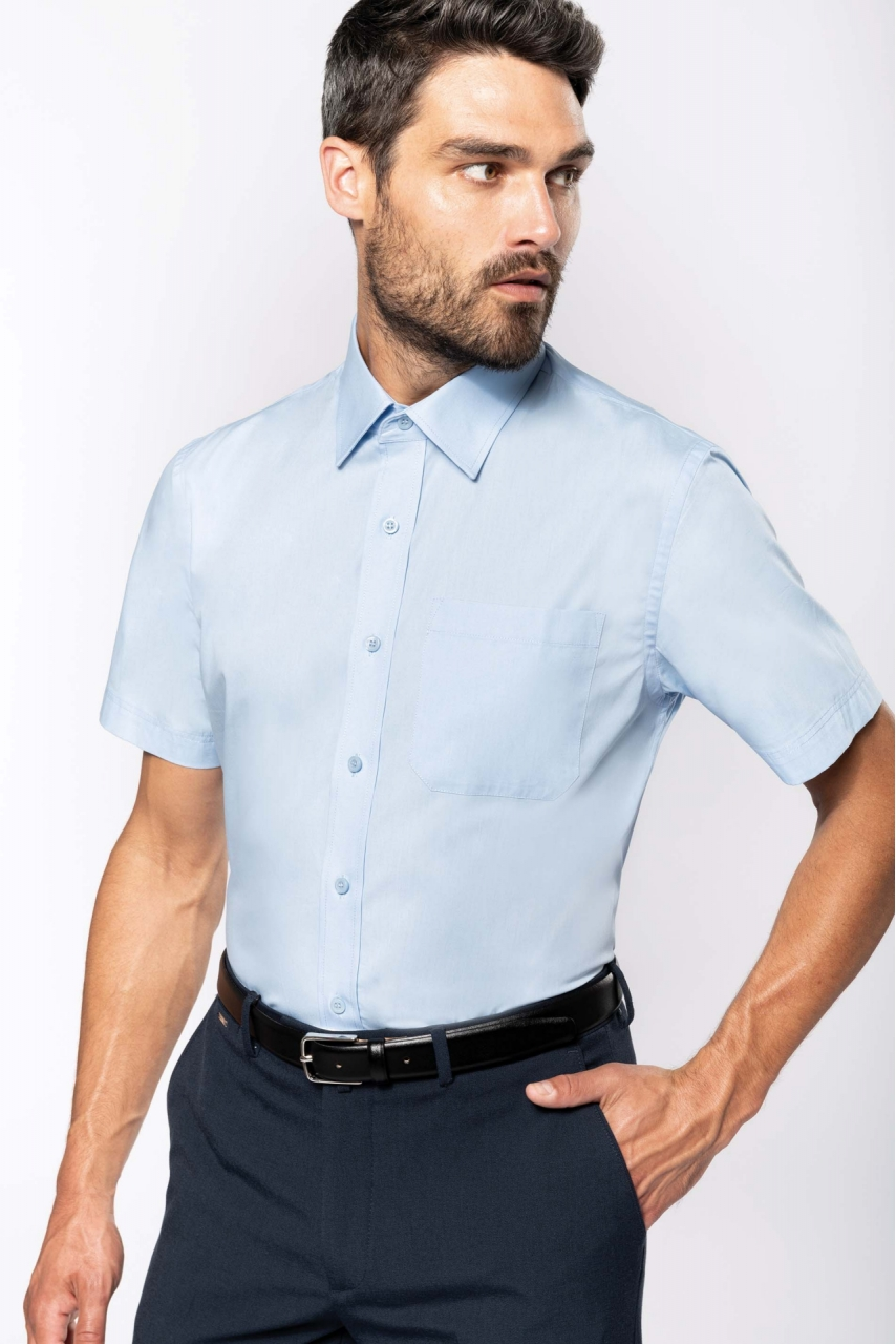 Chemise popeline manches courtes